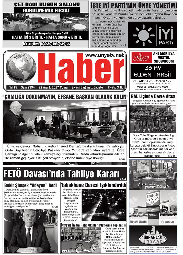 22.12.2017 Ünye Haber Gazetesi 1. Sayfası