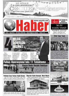 20.04.2018 Ünye Haber Gazetesi 1. Sayfası