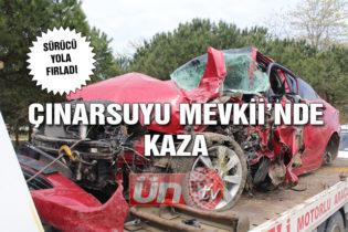 Otomobil Direğe Çarptı:1 Yaralı
